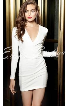 Vestido Bodycon  Em V Branco