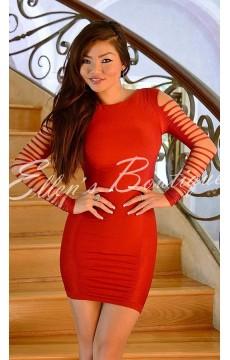Vestido Texturizado Vermelho